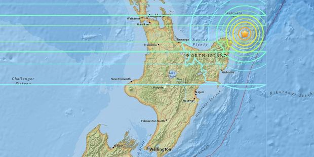 Loading The magnitude 7.1 quake hit at 4.37am, around 100km northeast of the East Cape settlement of Te Araroa, at a depth of 55km. Photo / USGS