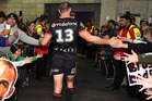 Simon Mannering congratulated by fans on his 250th game. Photosport