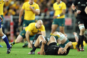 Codie Taylor after suffering a concussion against Australia. Photo / Photosport