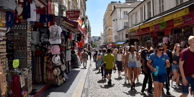 Busy shopping street in Montmartre. Photo / Evelyne Horovitz