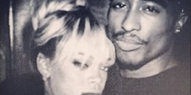 Rihanna pictured with rapper Tupac. Photo / Youtube