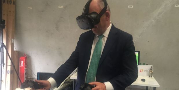 Science and Innovation Minister Steven Joyce opens the Augmented Reality/Virtual Reality Garage in Auckland on Friday.