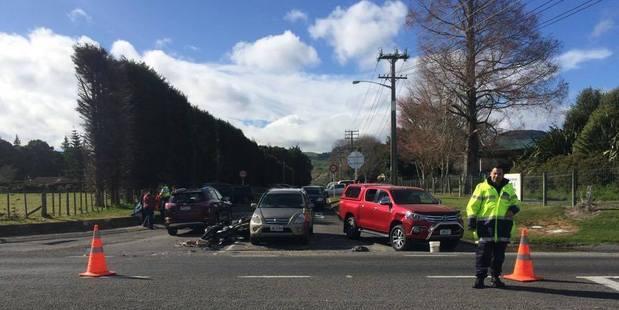 Emergency services at the scene of a serious crash on Te Ngae Rd, near Rotokawa Rd. PHOTO/KYRA DAWSON