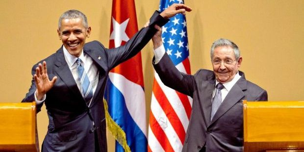 When Barack Obama shared and awkward hand shake with Cuban President Raúl Castro. Photo / Supplied