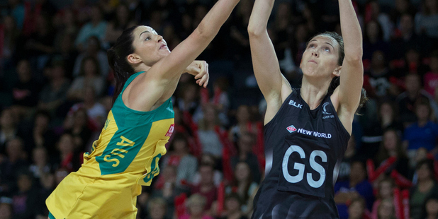 Silver Ferns shooter Bailey Mes gets over the top of Sharni Layton of Australia. Photo / photosport.nz