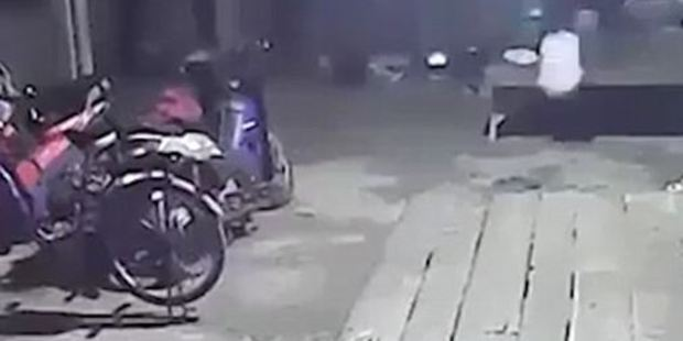 The bike wheel seems to spin by itself in the footage. Photo / Supplied