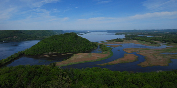 A view across the Mississippi River from Wisconsin's Brady's Bluff Prairie. Photo / Creative Commons image by Flickr user Joshua Mayer