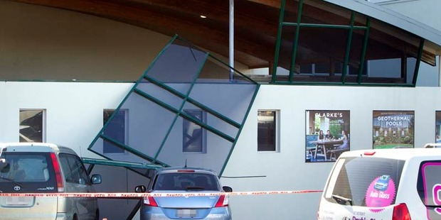 The wind has caused windows to fall out of place at Rotorua Novotel. Photo/Ben Fraser