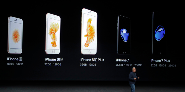 Apple's senior vice president Phil Schiller compares Apple's iPhone lineup. Photo / AP
