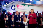 Democratic presidential candidate Hillary Clinton, with Matt Lauer, left, speaks at the NBC Commander-in-Chief Forum held at the Intrepid Sea, Air and Space museum in New York. Photo / AP