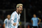 Argentina's Lionel Messi shows off his new, blonde look after scoring against Uruguay on the weekend. Photo / AP