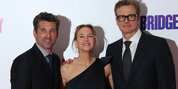 Actors Patrick Dempsey, Renee Zellweger and Colin Firth at the World premiere of the film Bridget Jones's Baby in London. Photo / AP