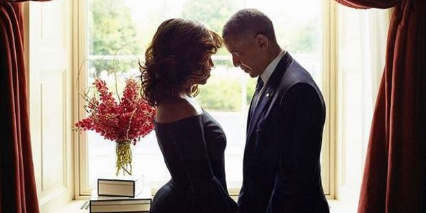 Michelle Obama and Barack Obama in the October issue of Essence. Photo / Instagram.com/Essence