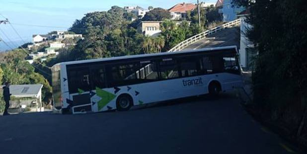 A bus is firmly wedged attempting to turn into Wellington's Fortunatus St. Photo / Facebook