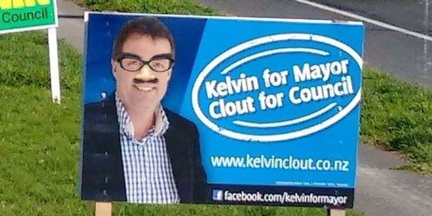 Mayoral and At Large candidate Kelvin Clout is one of many election candidates whose signs have been vandalised - although the only one to report the addition of Groucho glasses. Photo/supplied