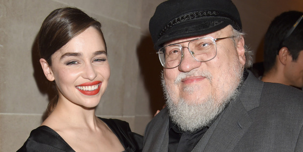 Actress Emilia Clarke and writer/co-executive producer George R.R. Martin attend the after party for HBO's Game of Thrones. Photo / Getty