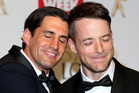 Andy Lee and Hamish Blake pose in the awards room at the 57th Annual Logie Awards at Crown Palladium on May 3, 2015 in Melbourne. Photo / Getty
