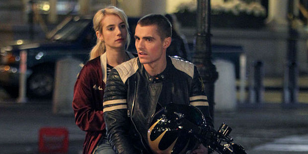 Emma Roberts and Dave Franco filming a scene from Nerve in NYC. Photo / Getty Images