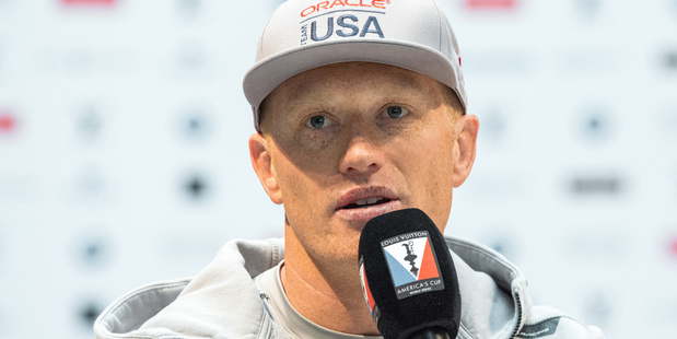 Oracle Team USA's skipper Jimmy Spithill participates in a press conference. Photo / Getty Images
