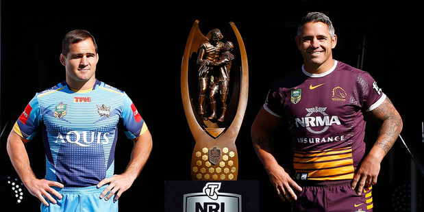 Nathan Friend and Corey Parker during the NRL Finals series launch. Photo / Getty Images