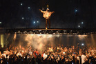 Kanye West debuts his floating stage at Madison Square Garden in New York. Will he bring it to New Zealand? Photo/Getty