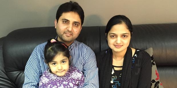 Loading Six-year-old Sarah with parents Suhail and Nashrin Patel. Photo / Sarah Harris