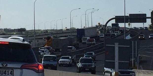 The traffic along the Tauranga Harbor Bridge.
