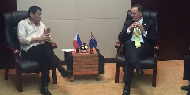 John Key and Rodrigo Duterte talk drugs and human rights when they meet at the East Asia Summit. Photo / Twitter