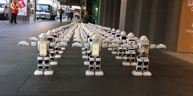 Loading Robotic queue on Auckland's Queen Street outside Spark store. Photo / Corazon Miller