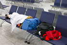 Stranded in an airport? Stake your claim where you can. Photo / 123RF