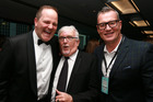 Sir Peter Leitch, centre, at his celebrity roast with Simon Power, left, and Sir John Kirwan, right. Photo / Doug Sherring