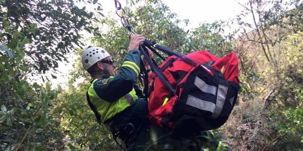 A pig hunter is rescued from bush near Taupo after falling down a bank. Photo / Supplied