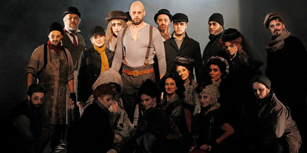 Teddy Tahu Rhodes (centre) leads the cast of Sweeney Todd: The Demon Barber of Fleet Street.