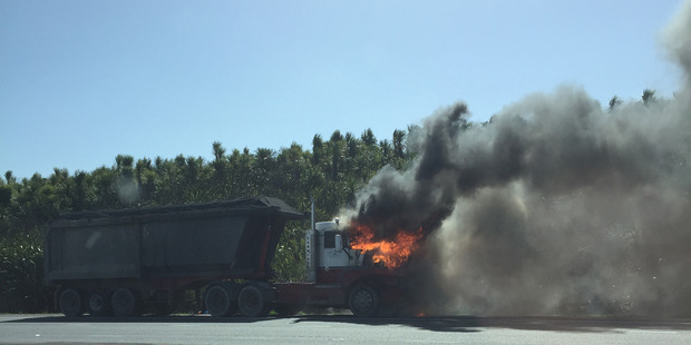 A truck caught fire on the southwestern motorway. Photo/supplied