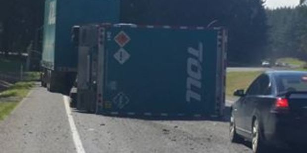 The crash south of Rotorua where a truck carrying ammunition has flipped. PHOTO/SUPPLIED BY HANA RANSFIELD