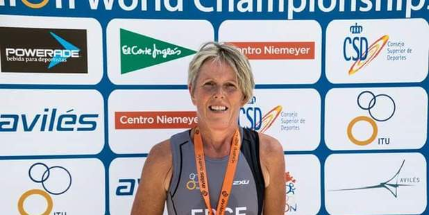 BIG EFFORT: Mandy Edge  after her race at the World Duathlon Championships in Aviles.