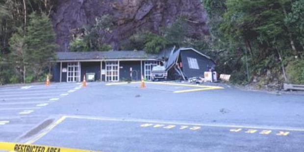 Loading Today's landslide at Milford Sound after heavy rain. Photo / Supplied
