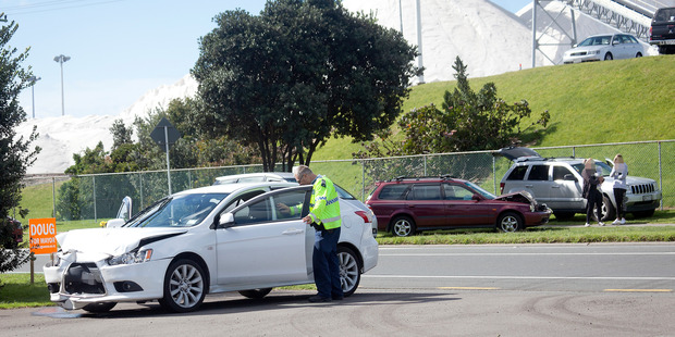 Nose to tail on Totara St near Hull Rd roundabout.