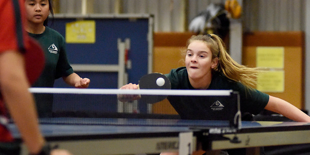 SILVER: (L-R) Marielle Dulangon and Ruby Barnes of Mount Maunganui Intermediate securing silver in the girl's table tennis doubles. PHOTO/GEORGE NOVAK