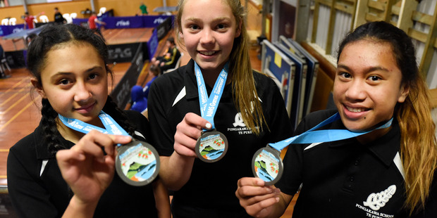 SILVER: (L-R) Marielle Dulangon and Ruby Barnes of Mount Maunganui Intermediate securing silver in the girl's table tennis doubles.