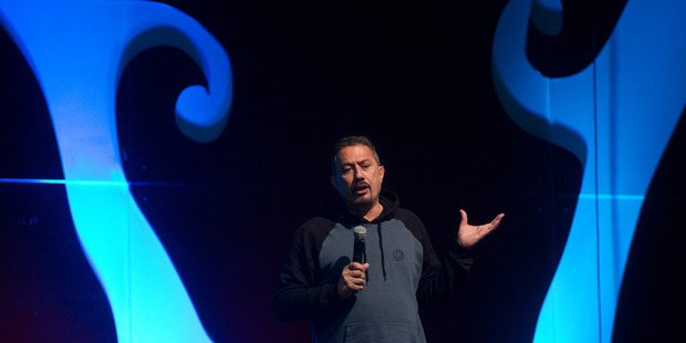 Mike King speaks at today's conference. PHOTO/STEPHEN PARKER