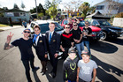 Personalities Jono Pryor, Ben Boyce and Guy Williams, Bathurst racing car champion Greg Murphy and former All Black Stephen Donald joined Tyler Berryman, 11, and Maddix Brady, 11, at the launch.