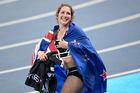 New Zealand's Eliza McCartney celebrates winning bronze at the pole volt. Photo / photosport.nz