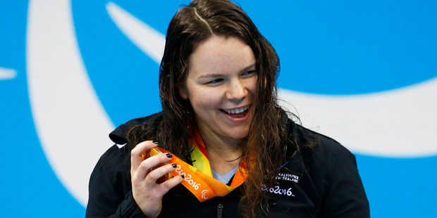 Loading New Zealand's Mary Fisher celebrates with her gold medal during the Womens 100m Backstroke S11 in Rio. Photo / www.photosport.nz