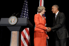 U.S. President Barack Obama and British Prime Minister Theresa May shake hands at the conclusion of a news conference after their bilateral meeting in Hangzhou. Photo / AP