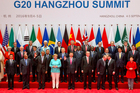State leaders take part in a group photo session for the G20 Summit held at the Hangzhou International Expo Center. Photo / AP