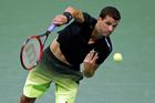 Bulgarian Grigor Dimitrov serves to Andy Murray at the U.S. Open tennis tournament. Photo / AP