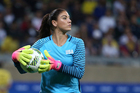 In this Aug. 3, 2016, file photo, U.S. goalkeeper Hope Solo takes the ball during a women's Olympic football tournament match against New Zealand. Photo / AP.
