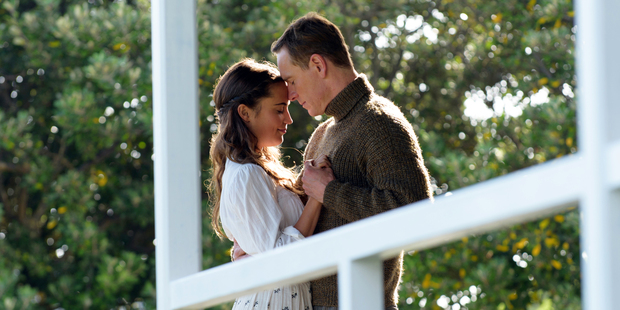 Alicia Vikander and Michael Fassbender in a scene from The Light Between Oceans. Photo / AP