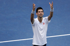 Novak Djokovic, of Serbia, reacts after defeating Gael Monfils, of France, during the semifinals of the U.S. Open tennis tournament. Photo / AP.
